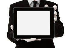 Eleganter Mann, der unbelegte digitale Tablette anhält lizenzfreie stockbilder