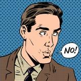 Eleganter Mann sagt keinen Pop-Arten-Comicsretrostil Stockfoto