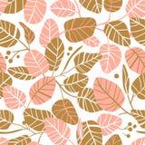 Eleganter nahtloser Hintergrund des Vektors mit Laub Hochzeitsmuster in den Rosa- und Goldfarben mit Blättern lizenzfreie abbildung