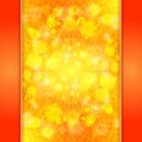 Eleganter orange aufwändiger Hintergrund mit Spitze Verzierung und boke Stock Abbildung