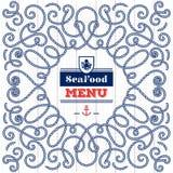 Eleganter Rahmen der modernen Idee des Meeresfrüchte-Menüs mit Schiffstau Stockfoto