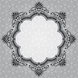 Eleganter runder dekorativer grauer Aufkleber Stockfoto