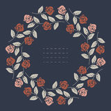 Eleganter runder Rahmen mit den roten und rosa Rosen lokalisiert auf blauem BAC lizenzfreie abbildung