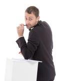 Eleganter schlanker Mann mit einem fragenden Ausdruck Stockfotografie