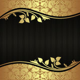 Eleganter schwarzer Hintergrund mit goldenen mit Blumengrenzen Stockbilder