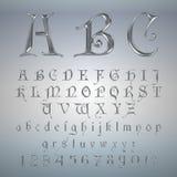 Eleganter silberner Platinguß, -alphabet, -ABC und -zahlen Stockfoto