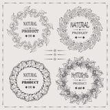 Eleganter Vektor gestaltet kühles Design des Naturproduktweinlesehippies Stockbild