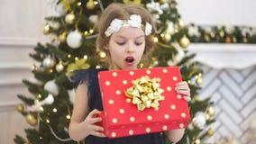 Eleganter Weihnachtsbaum verziert mit glitzernden Glaskugeln und feenhaften Lichtern stock footage