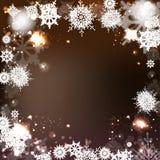 Eleganter Weihnachtshintergrund mit Schneeflocken Stockbild