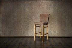 Eleganter Weinleseinnenraum mit Stuhl Stockfoto