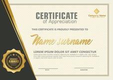 Eleganter Zertifikatschablonenvektor mit Luxus- und modernem Musterhintergrund lizenzfreie abbildung