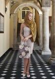 Elegantes Art und Weisemädchen mit Einkaufstasche Stockfotografie