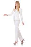 Elegantes blondes businesslady lokalisiert auf Weiß Lizenzfreie Stockbilder