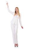 Elegantes blondes businesslady lokalisiert auf Weiß Lizenzfreie Stockfotografie