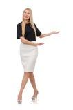 Elegantes blondes Mädchen lokalisiert auf dem Weiß Lizenzfreie Stockfotografie