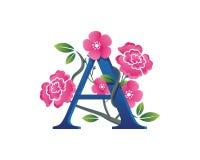 Elegantes Blumen ein Alphabet Logo Illustration Lizenzfreies Stockfoto