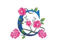 Elegantes Blumenc-Alphabet Logo Illustration Lizenzfreie Stockfotografie