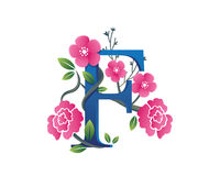 Elegantes Blumenf-Alphabet Logo Illustration Stockbild
