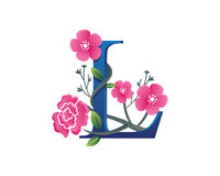 Elegantes Blumenl Alphabet Logo Illustration Stockfotografie