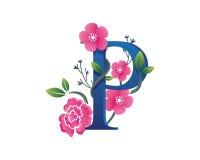 Elegantes Blumenp-Alphabet Logo Illustration Lizenzfreie Stockfotos