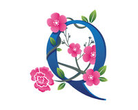 Elegantes Blumenq-Alphabet Logo Illustration Stockfoto