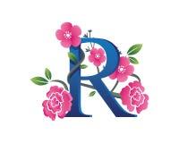 Elegantes Blumenr-Alphabet Logo Illustration Stockfotos