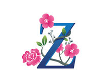 Elegantes Blumenz-Alphabet Logo Illustration Stockbild