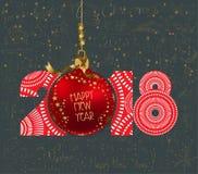 Elegantes frohe Weihnacht- und guten Rutsch ins Neue Jahr-Luxusplakat 2018 Wolke und rote Weihnachtsbälle Lizenzfreie Stockfotos