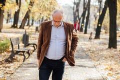 Elegantes Gehen der alten Männer Stockfoto