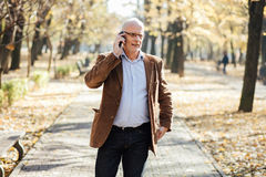 Elegantes Gehen der alten Männer Lizenzfreies Stockfoto
