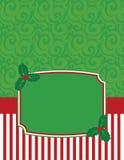 Elegantes gestreiftes Weihnachten Notecard mit Kopienraum Lizenzfreies Stockfoto