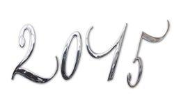2015, elegantes glänzendes 3D Silber, Metallbuchstaben Lizenzfreies Stockfoto