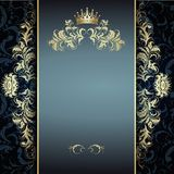 Elegantes goldenes Muster auf Blau Stockbilder