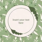 Elegantes Grün und Cremehandgezogene Blattillustration Runder Blattrahmen, zum Ihres eigenen Textes einzufügen Groß für den Badek stock abbildung