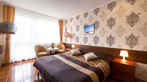 Elegantes Hotelzimmer Stockfoto