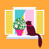 Elegantes Katzenvektorschattenbild, das auf dem windo sitzt lizenzfreie abbildung