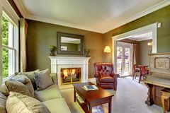 Elegantes klassisches grünes Wohnzimmer mit Kamin und Klavier. Stockbilder