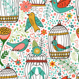 Elegantes Muster mit Blumen, Vogelkäfigen und Vögeln Lizenzfreie Stockbilder