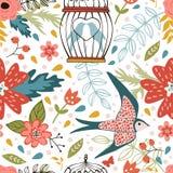 Elegantes Muster mit Blumen, Vogelkäfigen und Vögeln Stockfotografie