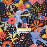 Elegantes Muster mit Blumen, Vogelkäfigen und Vögeln Lizenzfreie Stockfotos