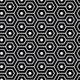 Elegantes schlängelndes Hexagon in Schwarzweiss Nahtloses Muster des geometrischen Vektors Abstrakter Bienenwabenentwurf Groß für vektor abbildung