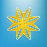 Elegantes Volumen des abstrakten gelbes Goldblumenikonen-Logos kurvt Stockbilder