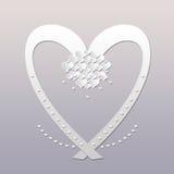 Elegantes weißes Herz Stockfoto