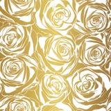 Elegantes Weißrosenmuster auf Goldhintergrund Stockfotos