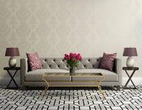 Elegantes Wohnzimmer der Weinlese mit grauem Samtsofa Stockfotografie