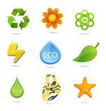 Elegantie en groene geplaatste aardsymbolen Stock Afbeeldingen