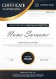 Elegantie horizontaal certificaat met Vectorillustratie, het witte malplaatje van het kadercertificaat met schoon en modern patro royalty-vrije illustratie