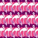 Elegantie naadloos patroon met roze flamingo en vleugels stock illustratie