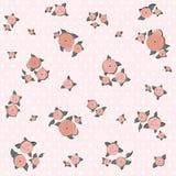 Elegantiepatroon met retro roze rozen Stock Afbeeldingen
