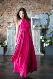 Elegantievrouw in lange roze kleding In binnenland Stock Afbeeldingen